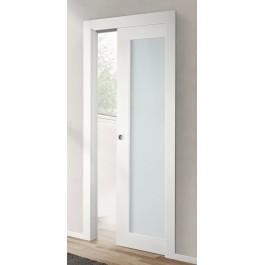 Porte interne laccata liscia battente vetro Prima PV Liberty