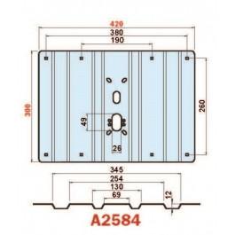 Placca in acciaio antiscasso antiscasso basculante serie Blue A2584 midi 420 x 300 grecata