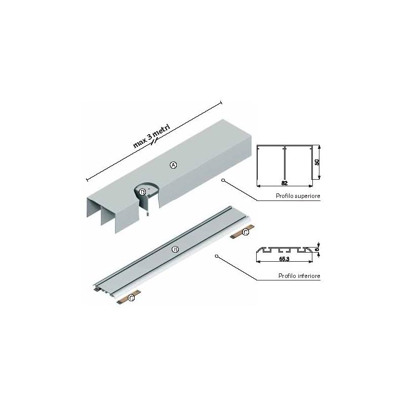 Kit Ante Scorrevoli Per Armadi A Muro.Componenti Binario Scorrevole Easy Kit Terra Per M001 Civico14