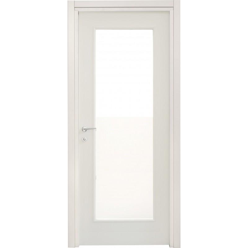 Porte interne leon 660 liscia con vetro laccata bianca for Porta a libro bianca con vetro