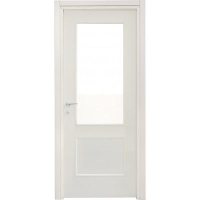 Porte interne leon 670 liscia con vetro laccata bianca for Porta a libro bianca con vetro
